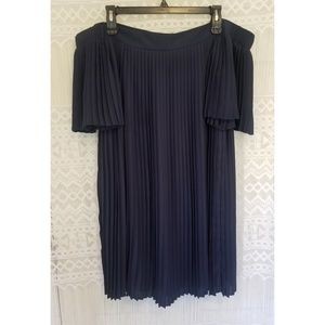 ASOS Navy Pleated Off Shoulder Flowy Dress Size 8
